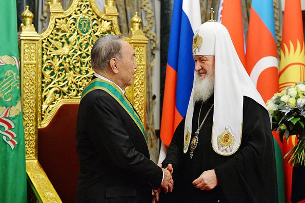 Патриарх Кирилл наградил Назарбаева орденом Сергия Радонежского