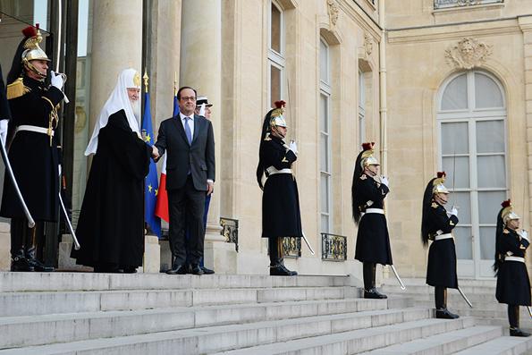 Состоялась встреча Святейшего Патриарха Кирилла с Президентом Франции Франсуа Олландом
